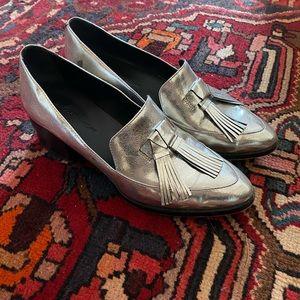 Rebecca Minkoff Silver Tassel Loafers